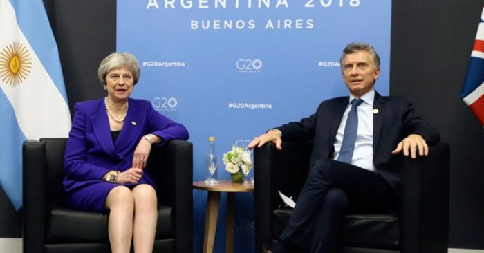 Theresa May y Mauricio Macri
