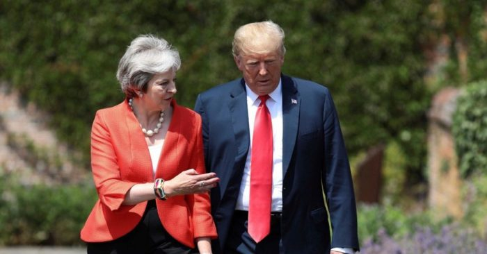 La primera ministra Theresa May y el presidente Donald Trump