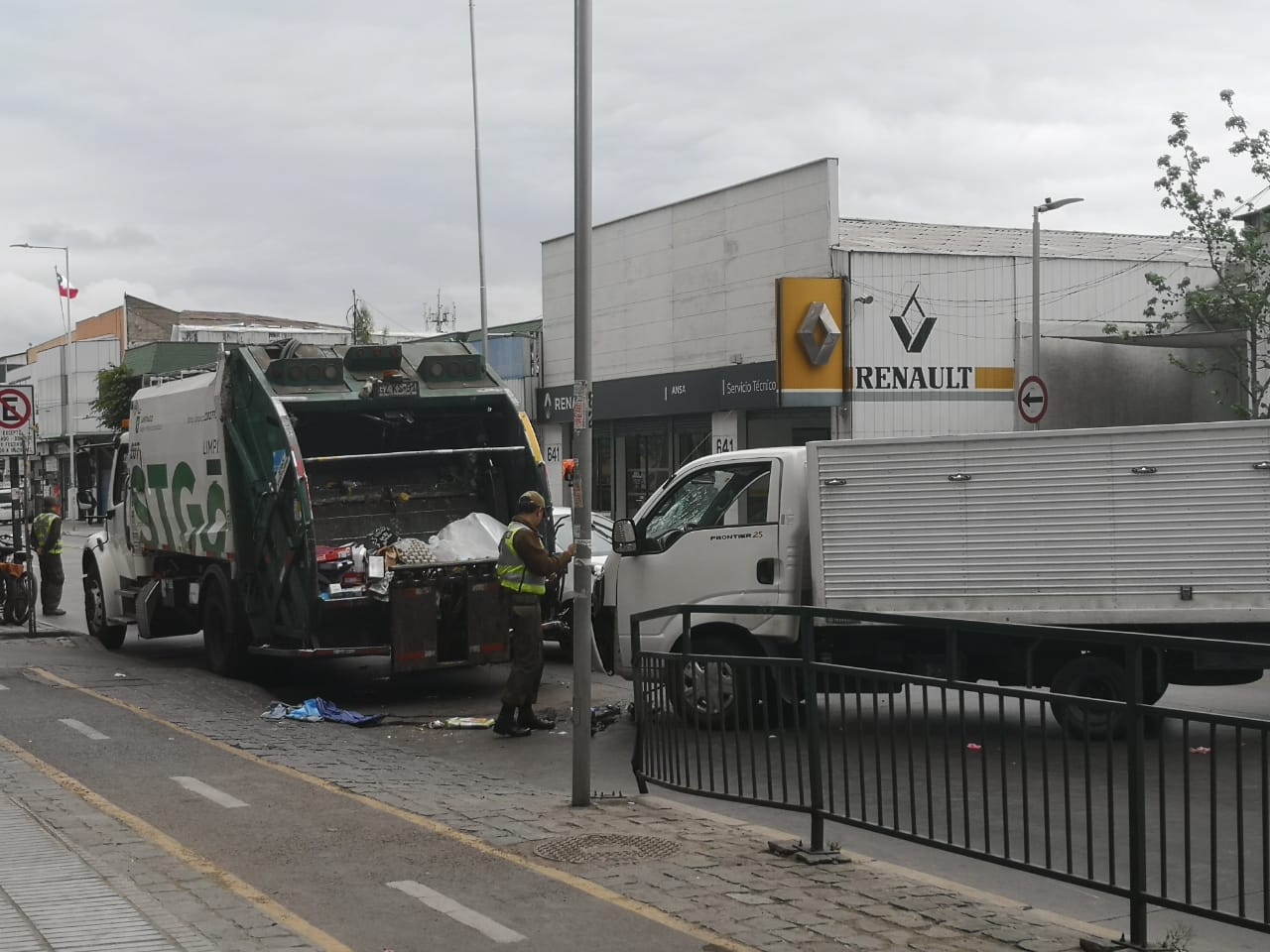 Accidente con un carro recolector de basura
