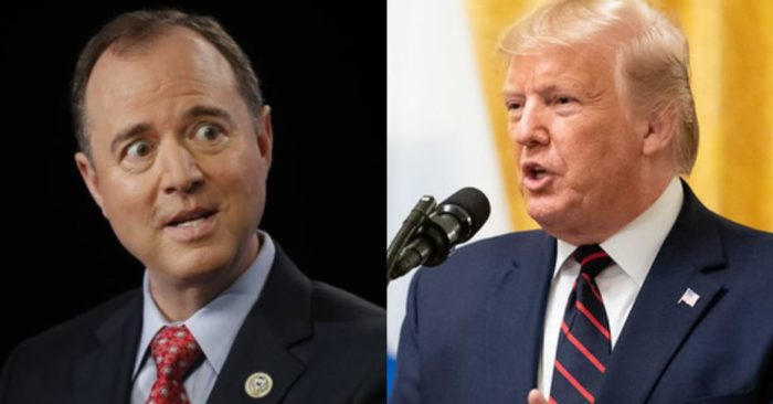 El representante demócrata Adam Schiff y el presidente Donald Trump. (Captura de video AP / Official White House Photo by D. Myles Cullen)